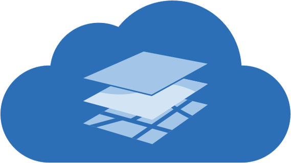Data layers in the cloud icon